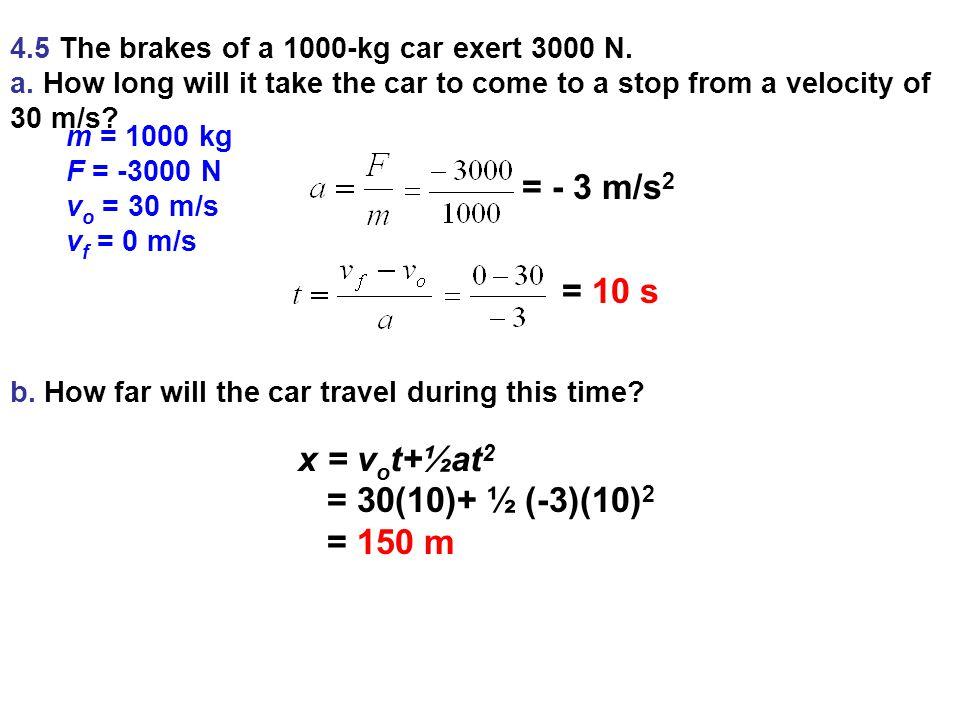 4.5 The brakes of a 1000-kg car exert 3000 N.a.