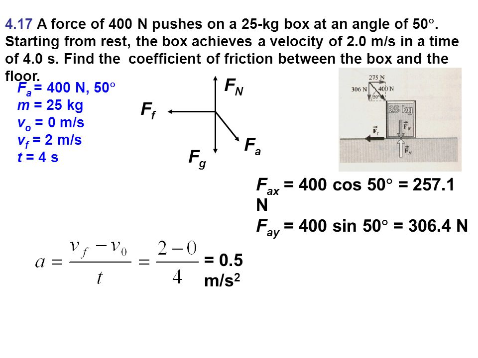 4.17 A force of 400 N pushes on a 25-kg box at an angle of 50 .