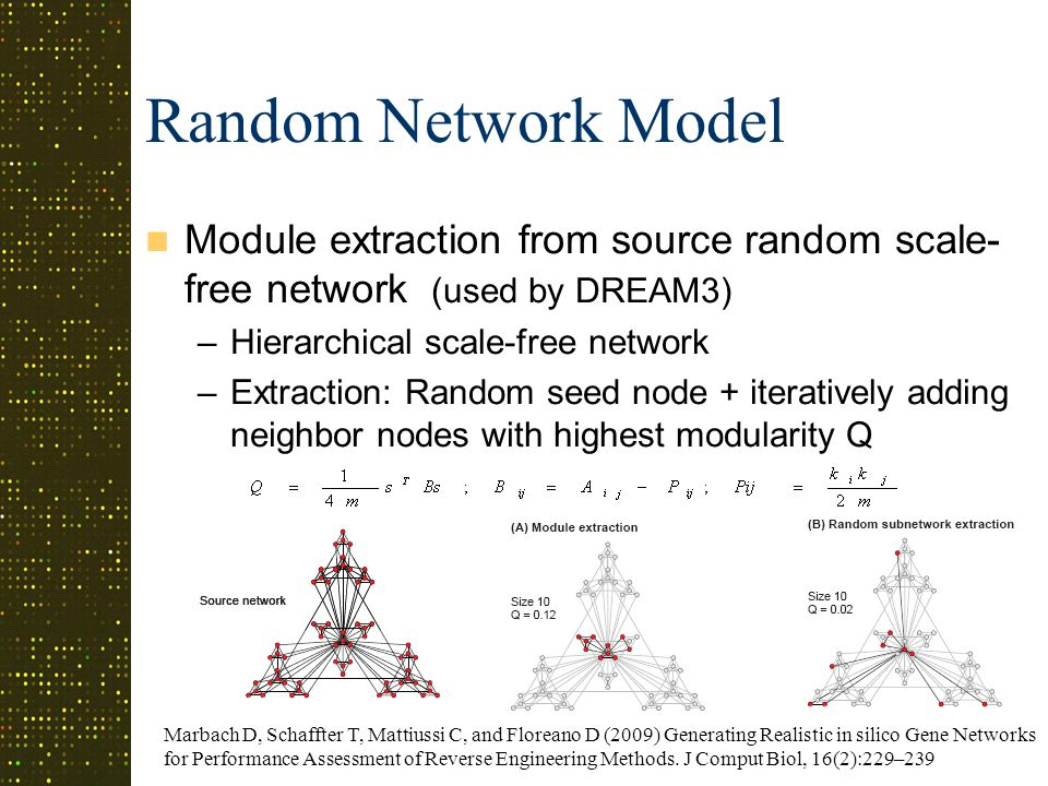 Random Network Model Module extraction from source random scale- free network (used by DREAM3) –Hierarchical scale-free network –Extraction: Random seed node + iteratively adding neighbor nodes with highest modularity Q Marbach D, Schaffter T, Mattiussi C, and Floreano D (2009) Generating Realistic in silico Gene Networks for Performance Assessment of Reverse Engineering Methods.