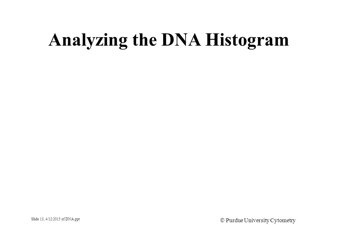 Slide 13, 4/12/2015 of DNA.ppt  Purdue University Cytometry Laboratories Analyzing the DNA Histogram
