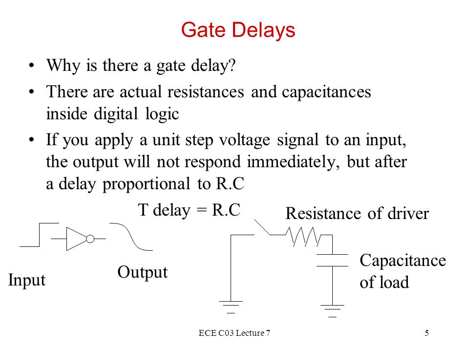 ECE C03 Lecture 716 Eliminating Glitches General Strategy: add redundant terms F = A D + A C becomes A D + A C + C D This eliminates 1-hazard.