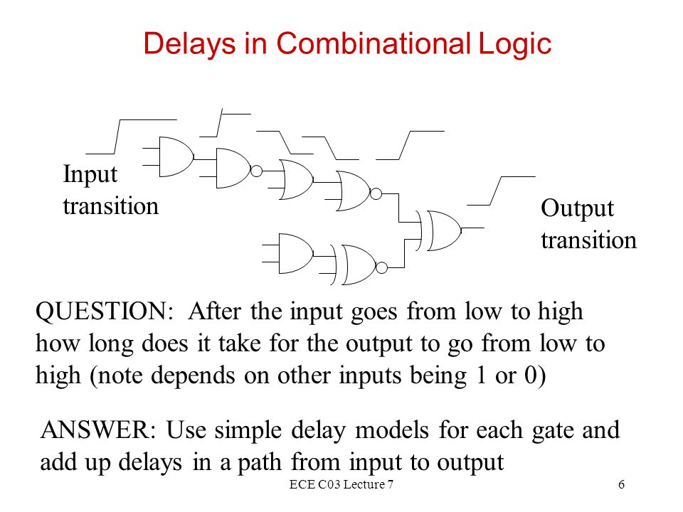 ECE C03 Lecture 77 Delays in Combinational Logic Wire load Capacitance C Load capacitance (pF) Delay (nsec) Low drive High drive