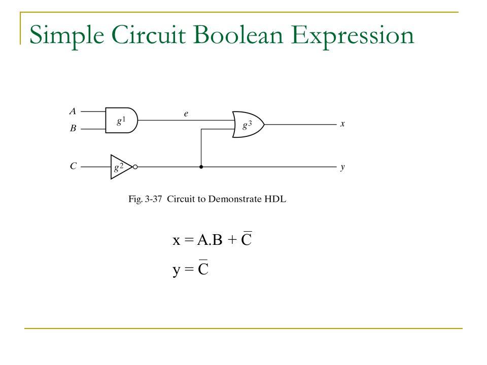 Simple Circuit Boolean Expression x = A.B + C y = C