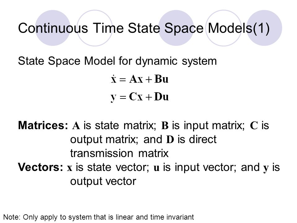 Continuous Time State Space Models(2) Function: Use ss function creates state space models.