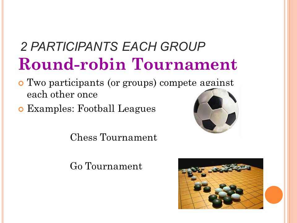 2 PARTICIPANTS EACH GROUP Round-robin Tournament Two participants (or groups) compete against each other once Examples: Football Leagues Chess Tournament Go Tournament