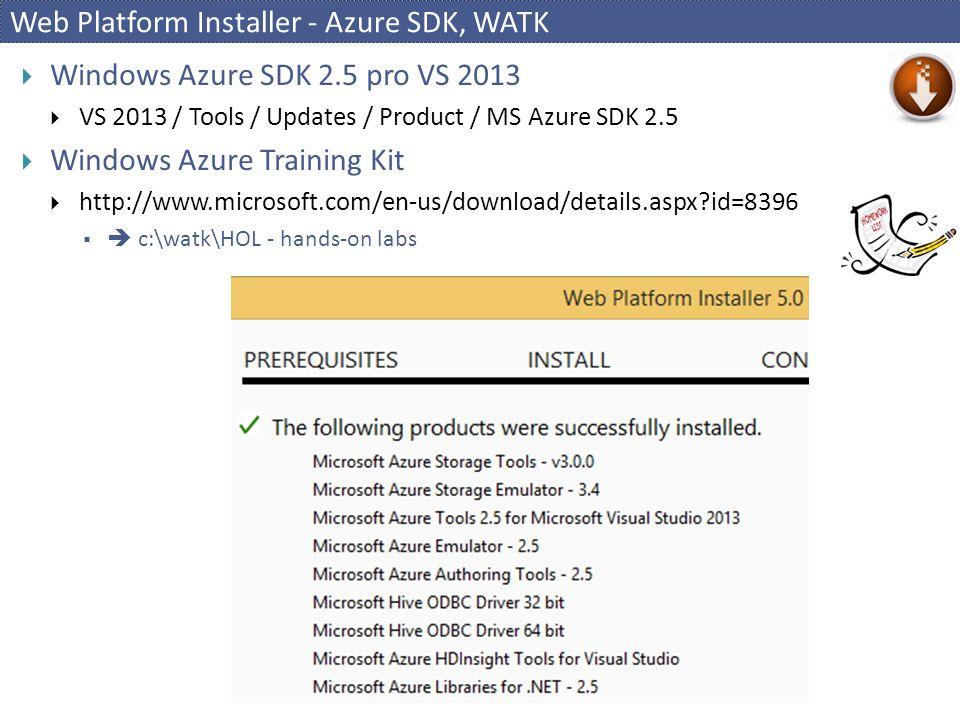 Web Platform Installer - Azure SDK, WATK  Windows Azure SDK 2.5 pro VS 2013  VS 2013 / Tools / Updates / Product / MS Azure SDK 2.5  Windows Azure Training Kit  http://www.microsoft.com/en-us/download/details.aspx?id=8396   c:\watk\HOL - hands-on labs