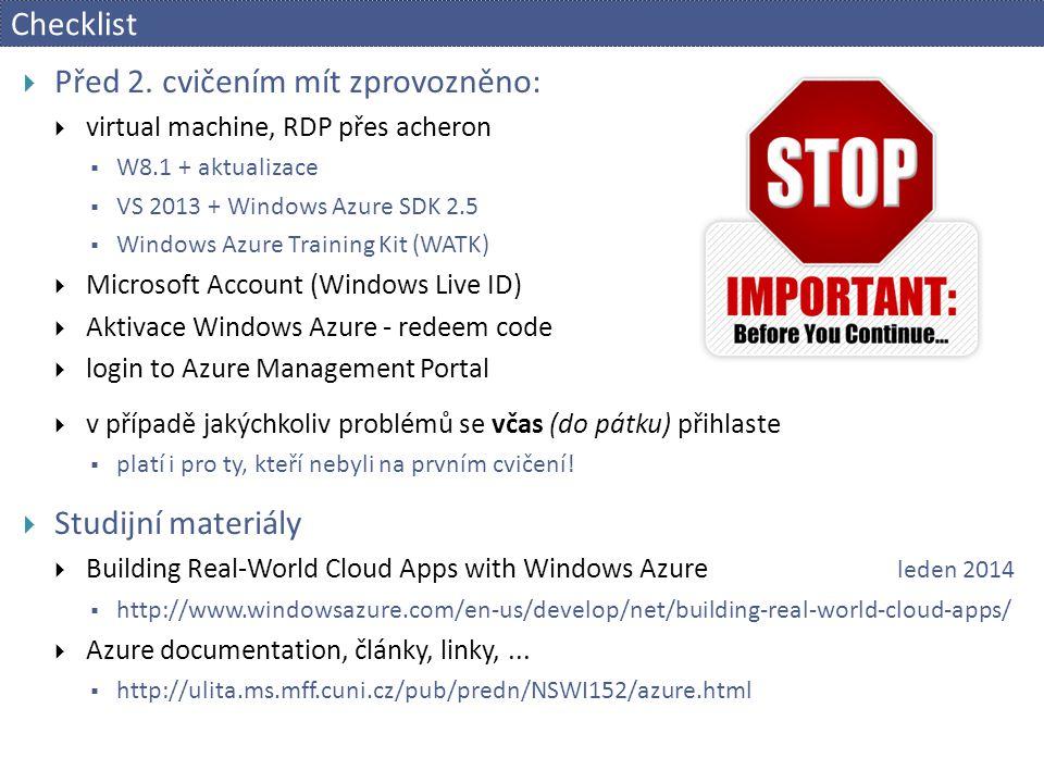 Checklist  Před 2.