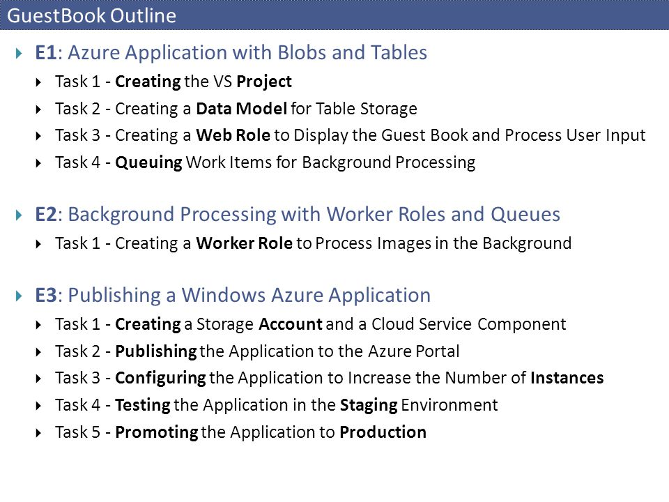 GuestBook Outline  E1: Azure Application with Blobs and Tables  Task 1 - Creating the VS Project  Task 2 - Creating a Data Model for Table Storage  Task 3 - Creating a Web Role to Display the Guest Book and Process User Input  Task 4 - Queuing Work Items for Background Processing  E2: Background Processing with Worker Roles and Queues  Task 1 - Creating a Worker Role to Process Images in the Background  E3: Publishing a Windows Azure Application  Task 1 - Creating a Storage Account and a Cloud Service Component  Task 2 - Publishing the Application to the Azure Portal  Task 3 - Configuring the Application to Increase the Number of Instances  Task 4 - Testing the Application in the Staging Environment  Task 5 - Promoting the Application to Production