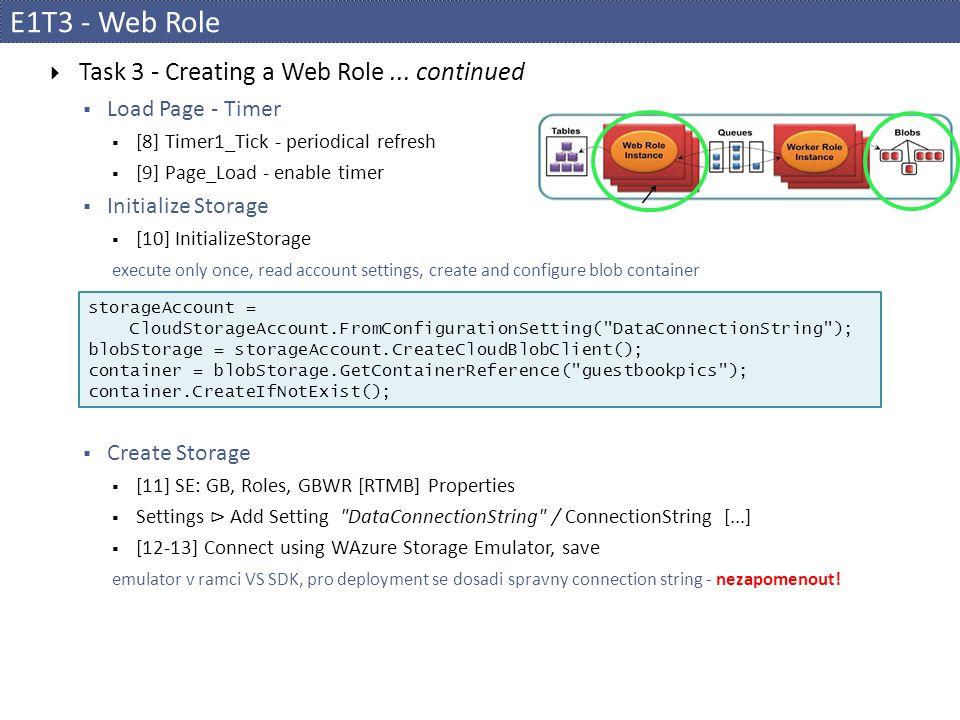E1T3 - Web Role  Task 3 - Creating a Web Role...