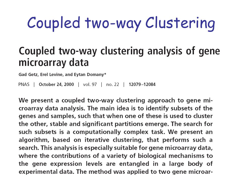 Coupled two-way Clustering