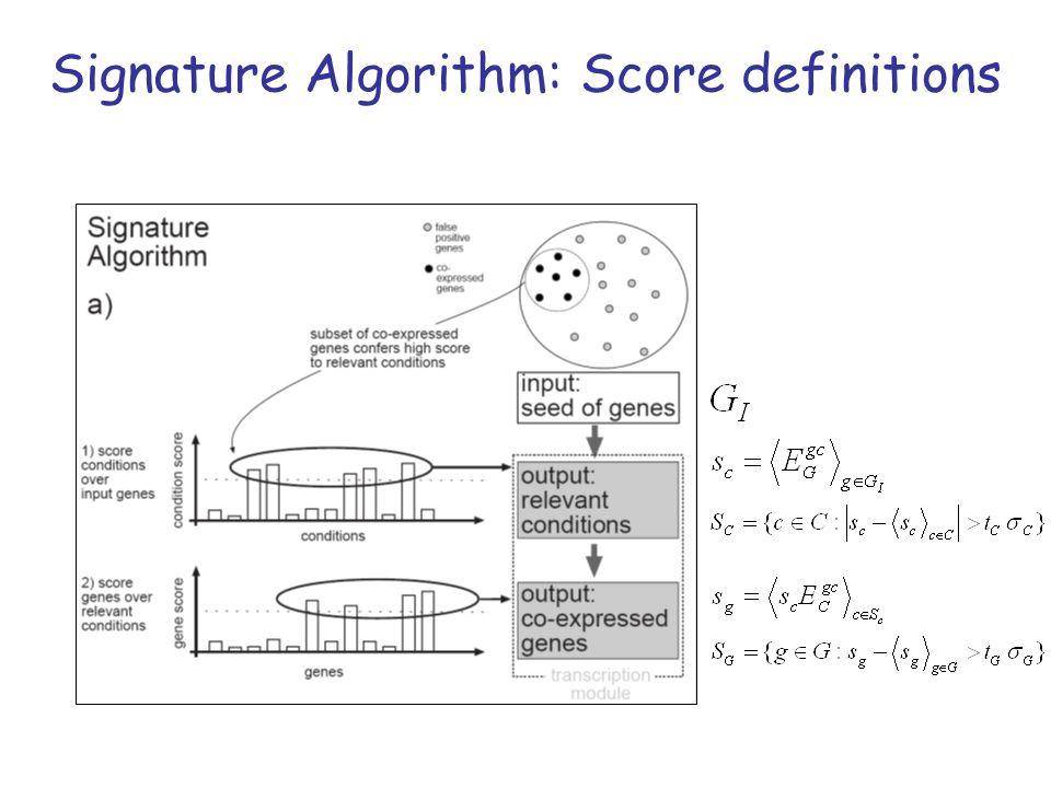 Signature Algorithm: Score definitions