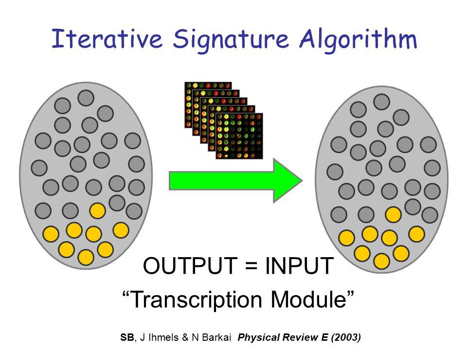 "Iterative Signature Algorithm INPUT OUTPUT OUTPUT = INPUT ""Transcription Module"" SB, J Ihmels & N Barkai Physical Review E (2003)"