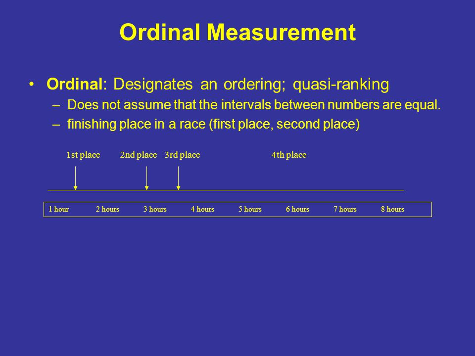 Ordinal Measurement Ordinal: Designates an ordering; quasi-ranking –Does not assume that the intervals between numbers are equal.