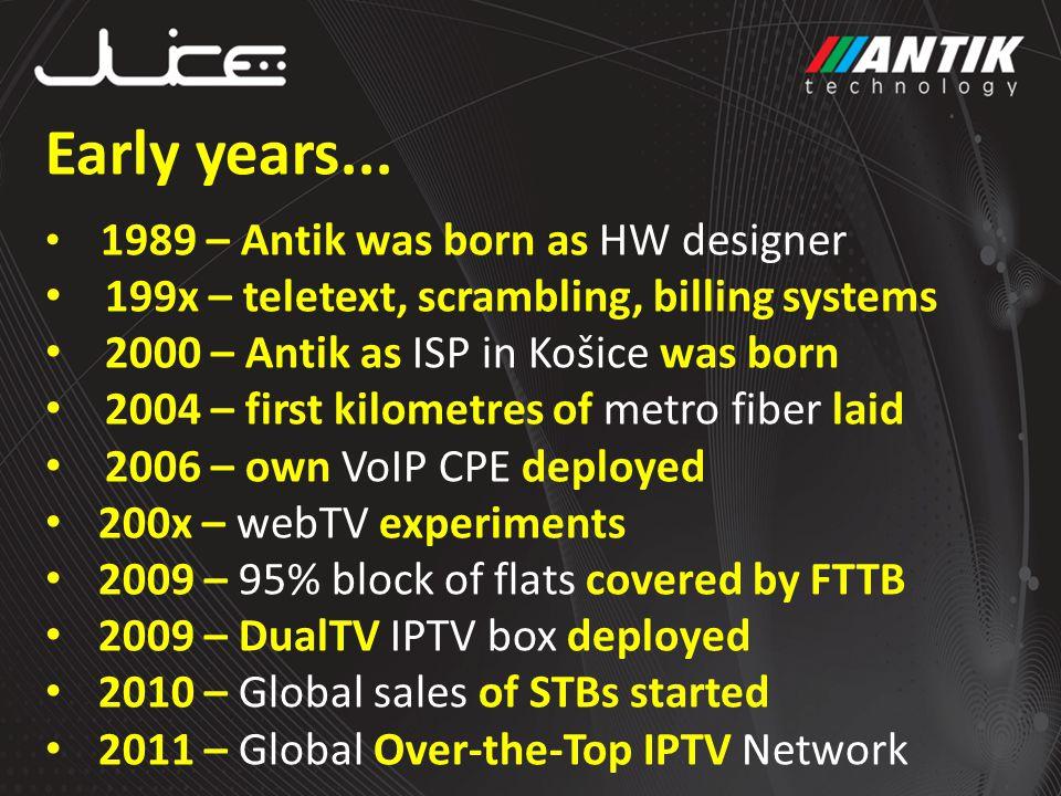 Early years... 1989 – Antik was born as HW designer 199x – teletext, scrambling, billing systems 2000 – Antik as ISP in Košice was born 2004 – first k