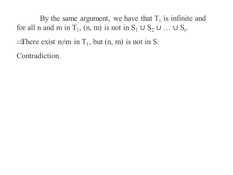 By the same argument, we have that T 1 is infinite and for all n and m in T 1, (n, m) is not in S 1 ∪ S 2 ∪ … ∪ S r.