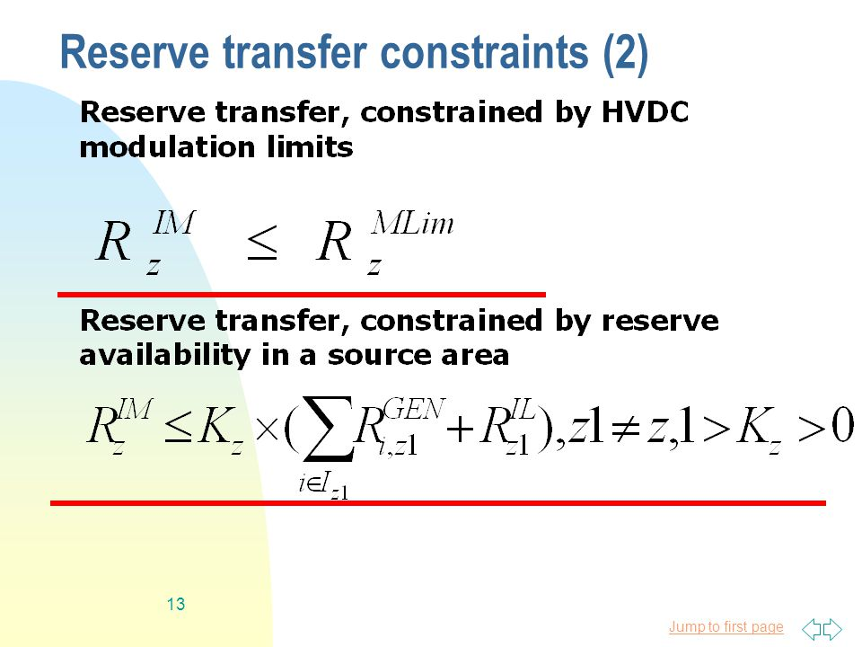 Jump to first page 13 Reserve transfer constraints (2)