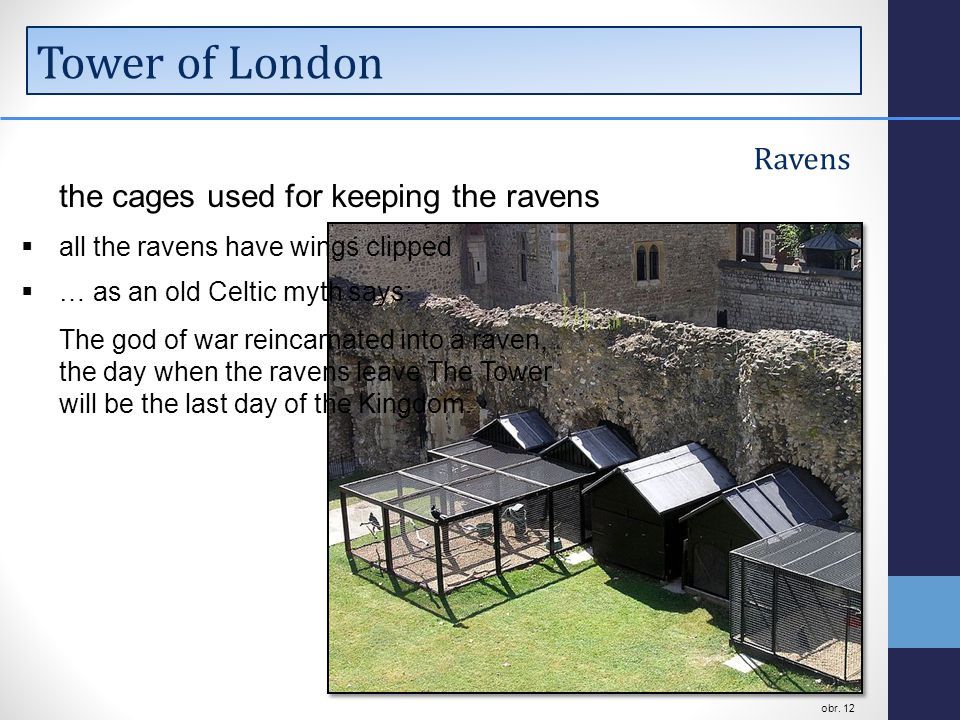 Tower of London Ravens the cages used for keeping the ravens  all the ravens have wings clipped  … as an old Celtic myth says: The god of war reincarnated into a raven, the day when the ravens leave The Tower will be the last day of the Kingdom.