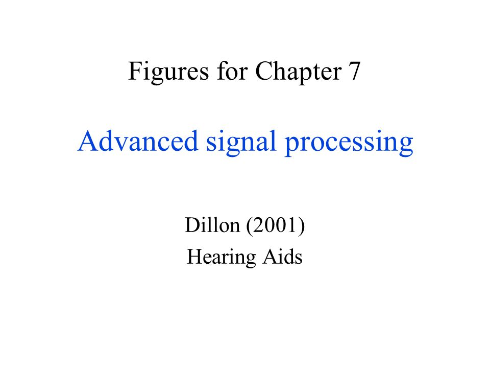 Figures for Chapter 7 Advanced signal processing Dillon (2001) Hearing Aids
