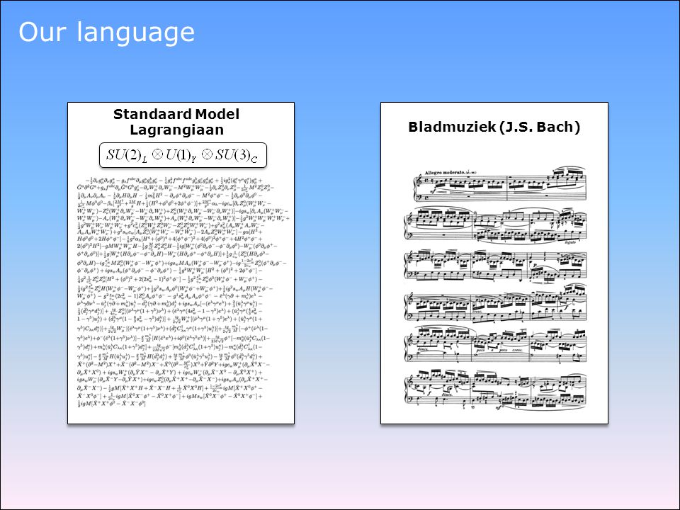 Our language Standaard Model Lagrangiaan Bladmuziek (J.S. Bach)