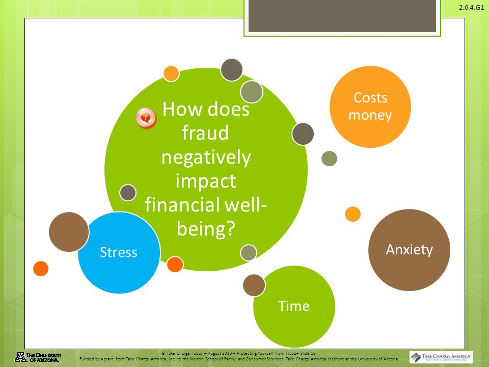 © Take Charge Today – August 2013 – Protecting Yourself From Fraud– Slide 10 Funded by a grant from Take Charge America, Inc. to the Norton School of
