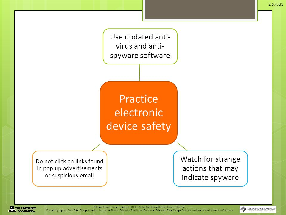 © Take Charge Today – August 2013 – Protecting Yourself From Fraud– Slide 24 Funded by a grant from Take Charge America, Inc.