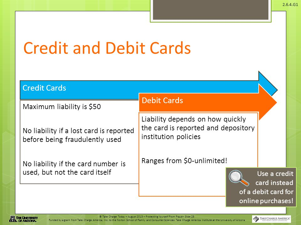 © Take Charge Today – August 2013 – Protecting Yourself From Fraud– Slide 25 Funded by a grant from Take Charge America, Inc. to the Norton School of