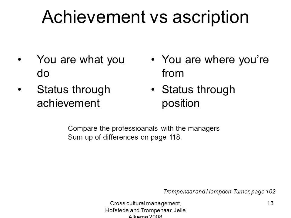 Cross cultural management, Hofstede and Trompenaar, Jelle Alkema 2008 13 Achievement vs ascription You are what you do Status through achievement You