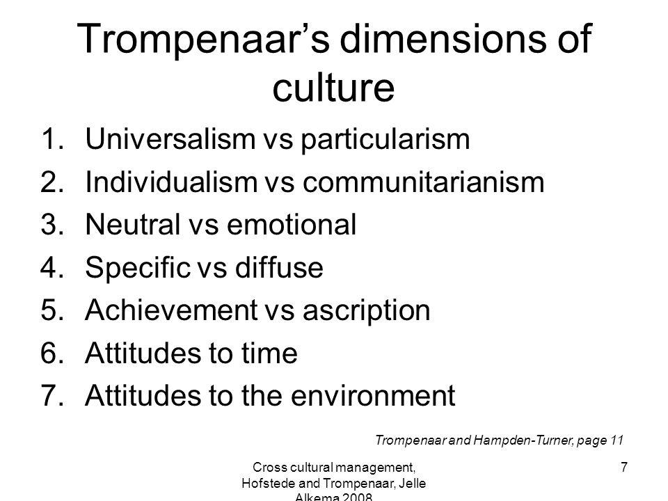 Cross cultural management, Hofstede and Trompenaar, Jelle Alkema 2008 7 Trompenaar's dimensions of culture 1.Universalism vs particularism 2.Individua