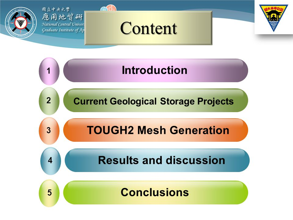 ContentContent Introduction 1 Current Geological Storage Projects 2 Conclusions 5 TOUGH2 Mesh Generation 3 Results and discussion 4