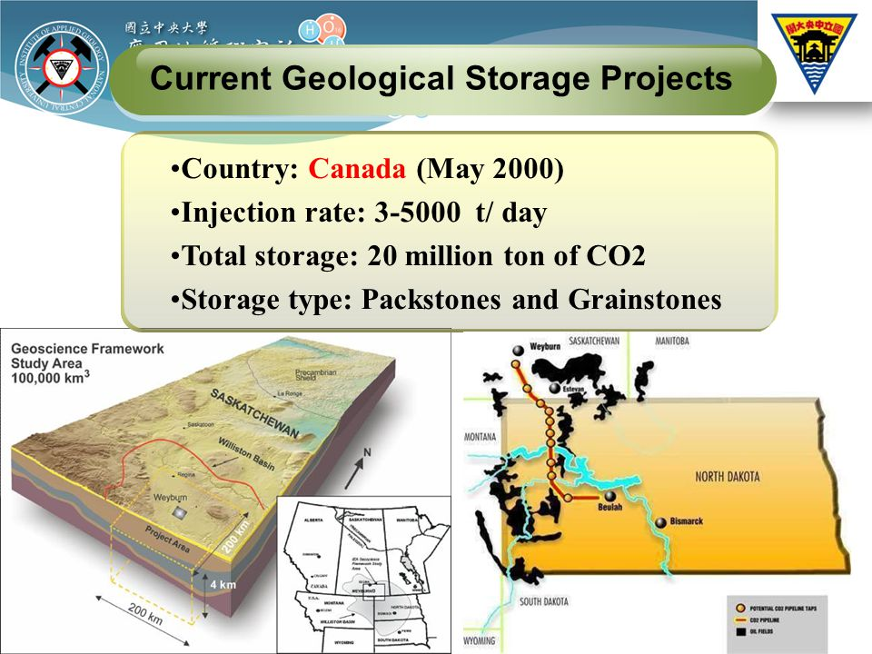 Country: Canada (May 2000) Injection rate: t/ day Total storage: 20 million ton of CO2 Storage type: Packstones and Grainstones Current Geological Storage Projects