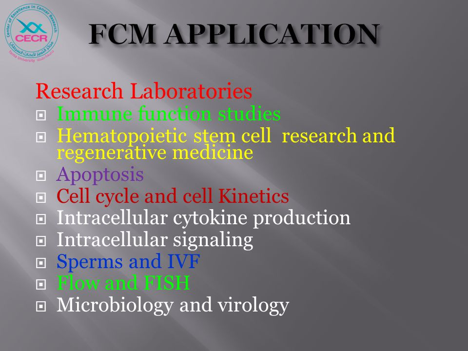 Research Laboratories  Immune function studies  Hematopoietic stem cell research and regenerative medicine  Apoptosis  Cell cycle and cell Kinetic