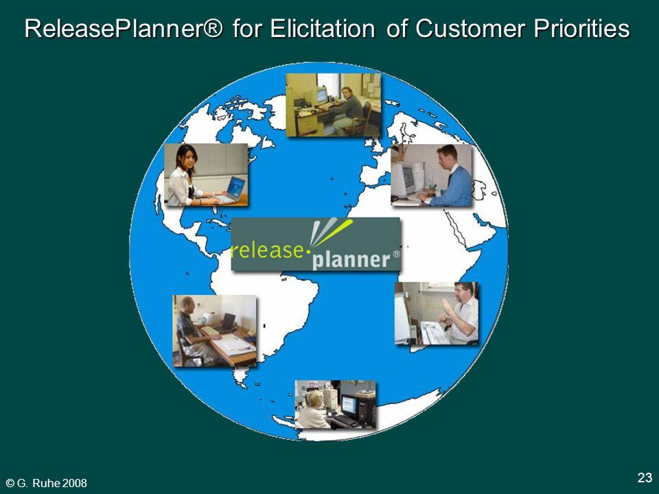 © G. Ruhe 2008 23 ReleasePlanner® for Elicitation of Customer Priorities