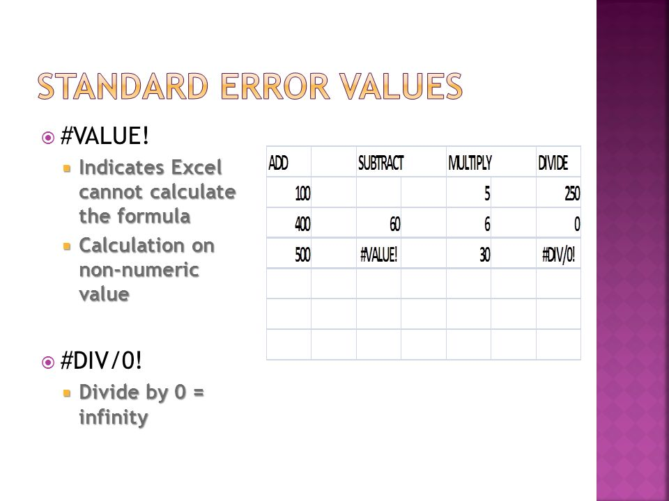  #VALUE!  Indicates Excel cannot calculate the formula  Calculation on non-numeric value  #DIV/0!  Divide by 0 = infinity