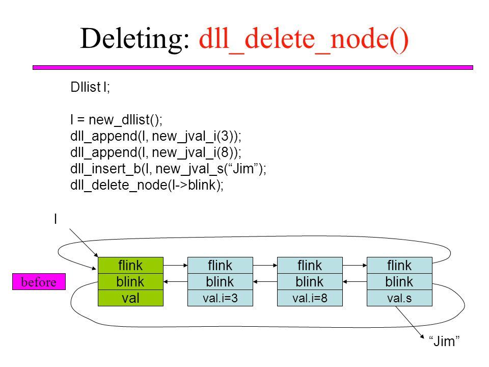 """Deleting: dll_delete_node() Dllist l; l = new_dllist(); dll_append(l, new_jval_i(3)); dll_append(l, new_jval_i(8)); dll_insert_b(l, new_jval_s(""""Jim"""");"""