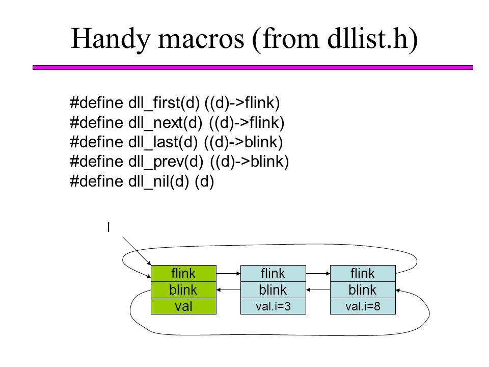 Handy macros (from dllist.h) #define dll_first(d) ((d)->flink) #define dll_next(d) ((d)->flink) #define dll_last(d) ((d)->blink) #define dll_prev(d) (