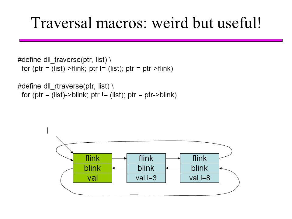 Traversal macros: weird but useful! #define dll_traverse(ptr, list) \ for (ptr = (list)->flink; ptr != (list); ptr = ptr->flink) #define dll_rtraverse