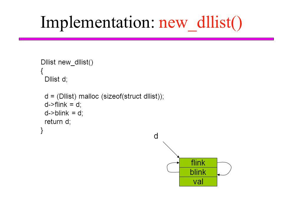 Implementation: new_dllist() flink blink val d Dllist new_dllist() { Dllist d; d = (Dllist) malloc (sizeof(struct dllist)); d->flink = d; d->blink = d