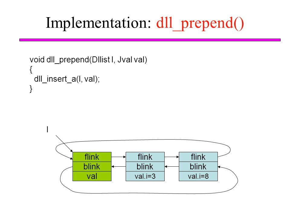 Implementation: dll_prepend() void dll_prepend(Dllist l, Jval val) { dll_insert_a(l, val); } flink blink val l flink blink val.i=3 flink blink val.i=8