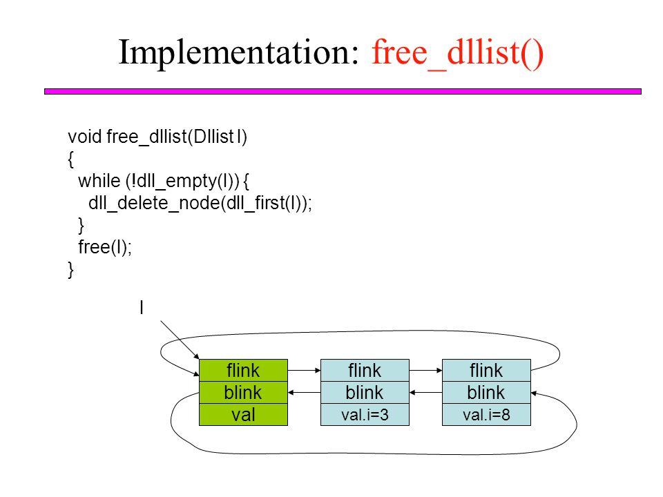Implementation: free_dllist() void free_dllist(Dllist l) { while (!dll_empty(l)) { dll_delete_node(dll_first(l)); } free(l); } flink blink val l flink