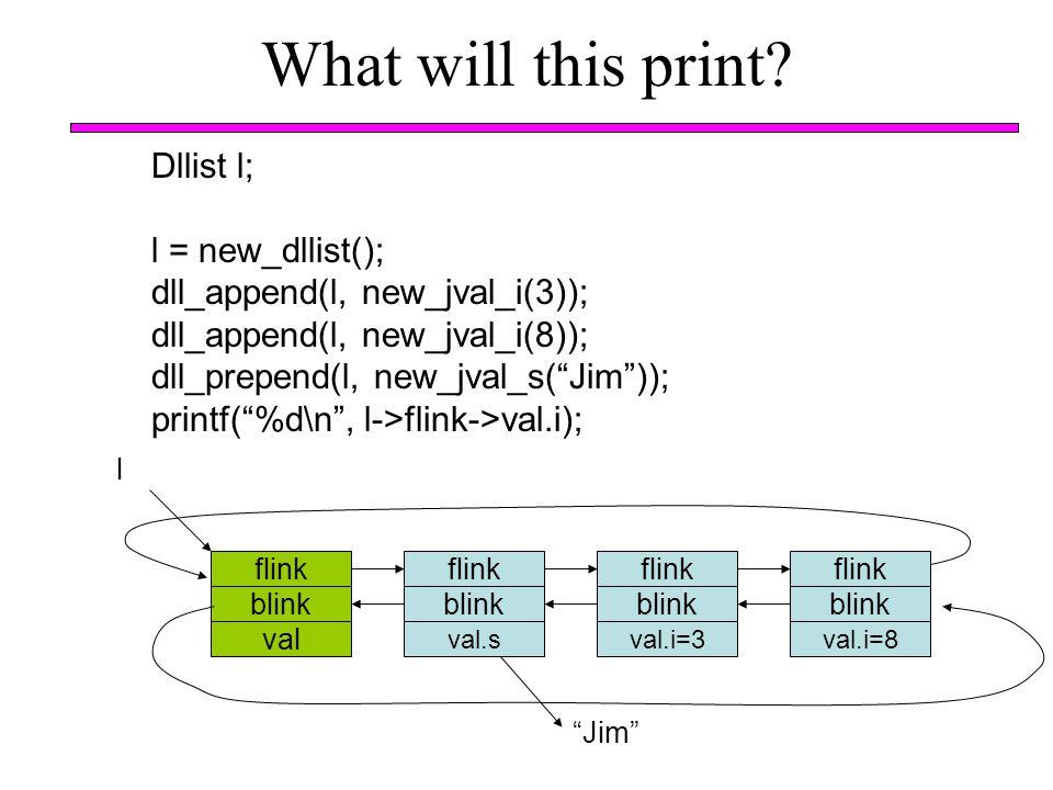 What will this print? flink blink val l Dllist l; l = new_dllist(); dll_append(l, new_jval_i(3)); dll_append(l, new_jval_i(8)); dll_prepend(l, new_jva