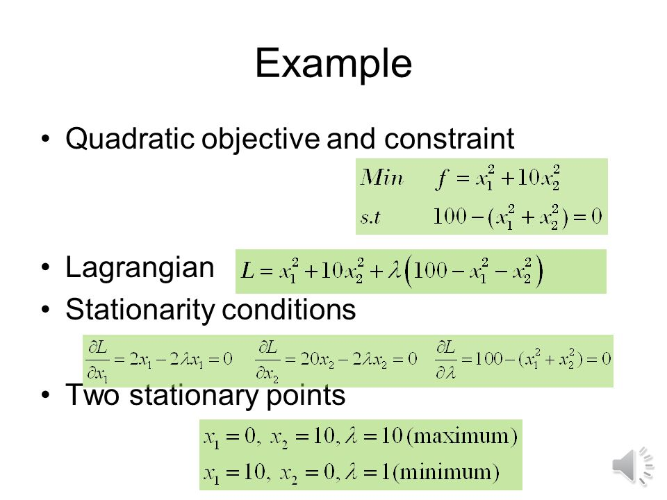 Lagrangian function where j are unknown Lagrange multipliers Stationary point conditions for equality constraints: Lagrangian and stationarity