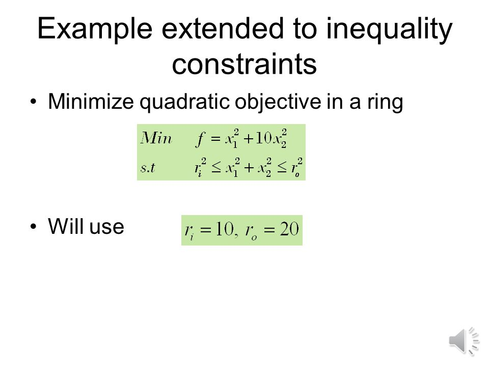 Convex optimization problem has –convex objective function –convex feasible domain if All inequality constraints are convex (or g j = convex) All equa