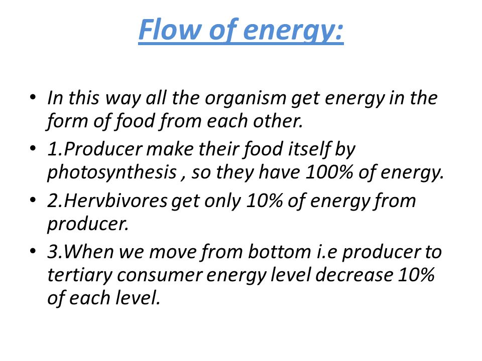 Flow of energy: In this way all the organism get energy in the form of food from each other.