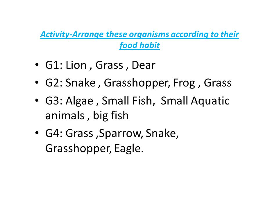 Activity-Arrange these organisms according to their food habit G1: Lion, Grass, Dear G2: Snake, Grasshopper, Frog, Grass G3: Algae, Small Fish, Small Aquatic animals, big fish G4: Grass,Sparrow, Snake, Grasshopper, Eagle.