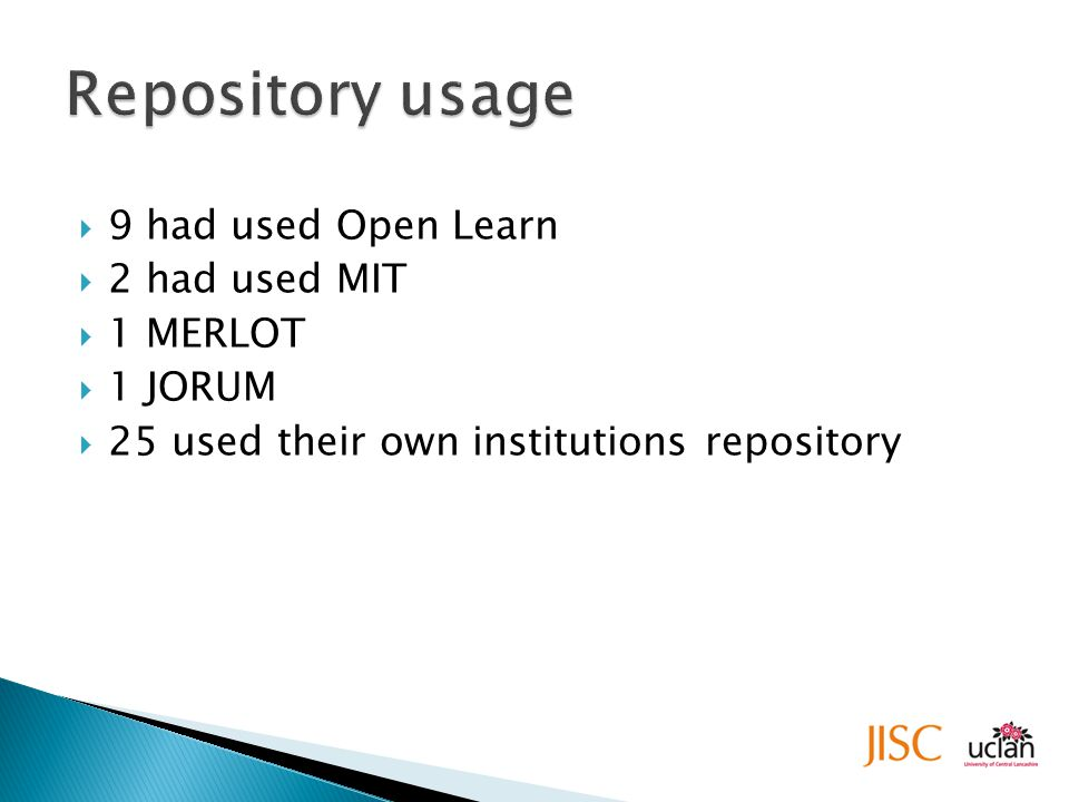  9 had used Open Learn  2 had used MIT  1 MERLOT  1 JORUM  25 used their own institutions repository