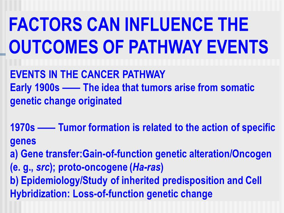 FACTORS CAN INFLUENCE THE OUTCOMES OF PATHWAY EVENTS EVENTS IN THE CANCER PATHWAY Early 1900s —— The idea that tumors arise from somatic genetic change originated 1970s —— Tumor formation is related to the action of specific genes a) Gene transfer:Gain-of-function genetic alteration/Oncogen (e.