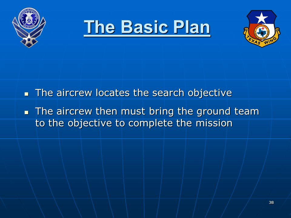 38 The Basic Plan The aircrew locates the search objective The aircrew then must bring the ground team to the objective to complete the mission