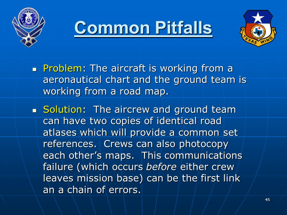 45 Common Pitfalls Problem: The aircraft is working from a aeronautical chart and the ground team is working from a road map.