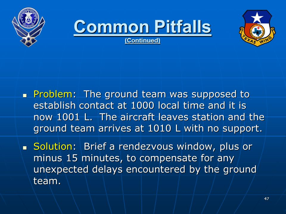 47 Common Pitfalls (Continued) Problem: The ground team was supposed to establish contact at 1000 local time and it is now 1001 L.