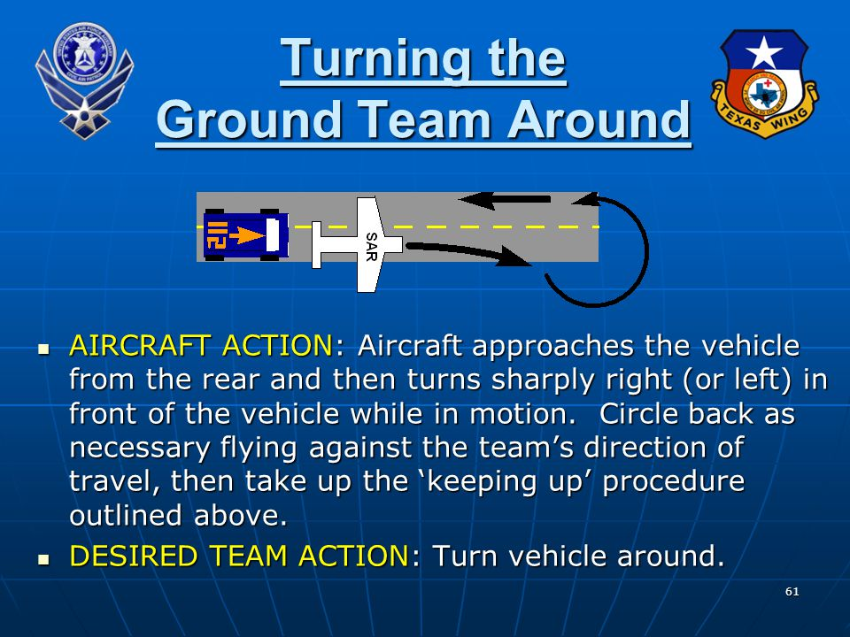 61 Turning the Ground Team Around AIRCRAFT ACTION: Aircraft approaches the vehicle from the rear and then turns sharply right (or left) in front of th